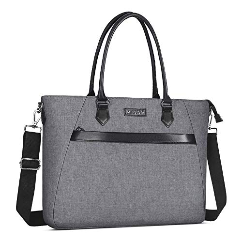 MOSISO Woman Laptop Tote Bag Up to 17.3 inch, Water Repellent PU & Polyester Work Business School College Travel Shoulder Bag with Front Trapezoid Pocket Compatible with MacBook & Notebook, Gray