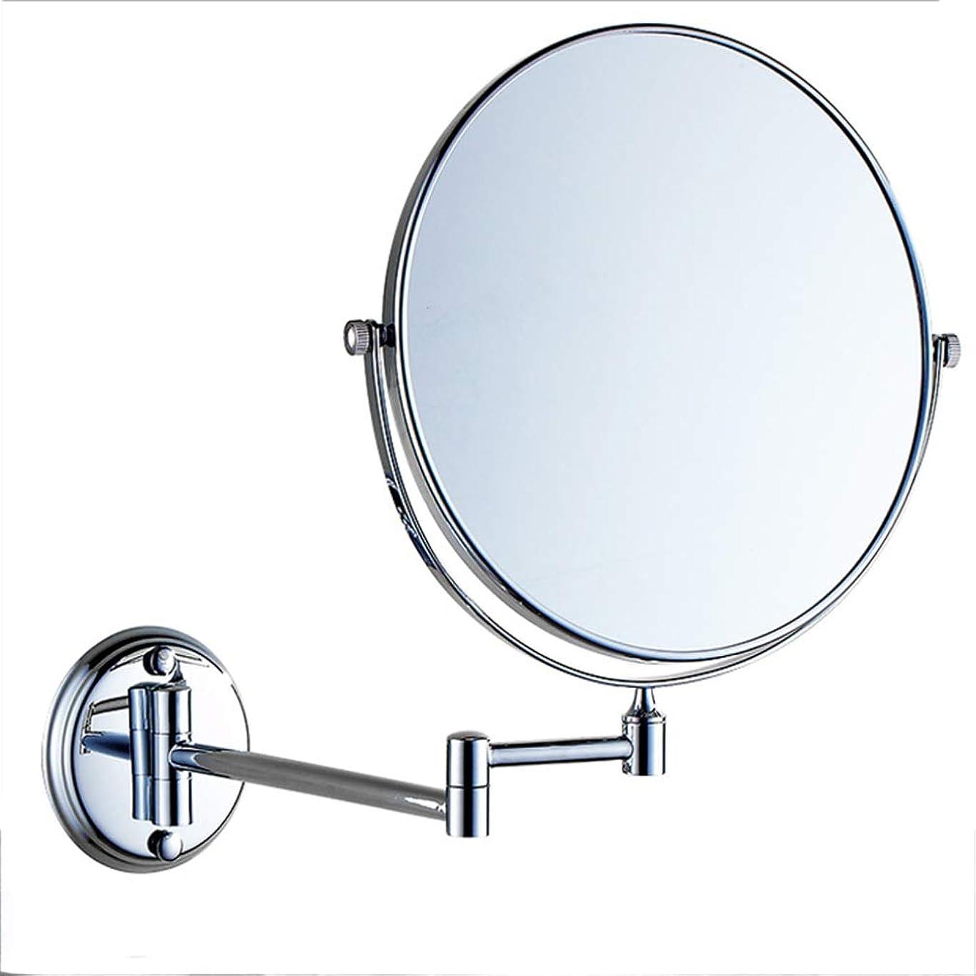 情熱機械的につかむHUYYA 化粧鏡、両面 壁掛け式 化粧ミラー 3倍拡大 けメイクミラー 360 °回転 伸縮可能折りバスルームの鏡,Silver_8inch