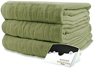 Pure Warmth MicroPlush Electric Heated Blanket Full Sage Green