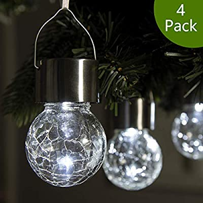GIGALUMI 4 Pack Hanging Solar Lights, White LED Solar Crackle Globe Hanging Lights Waterproof Outdoor Solar Lanterns with Handle for Garden, Yard, Patio, Lawn