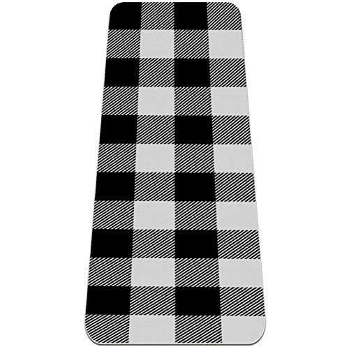 Esterilla Yoga Mat Antideslizante Profesional - Tela escocesa de búfalo blanco sin costuras - Colchoneta Gruesa para Deportes - Gimnasia Pilates Fitness - Ecológica