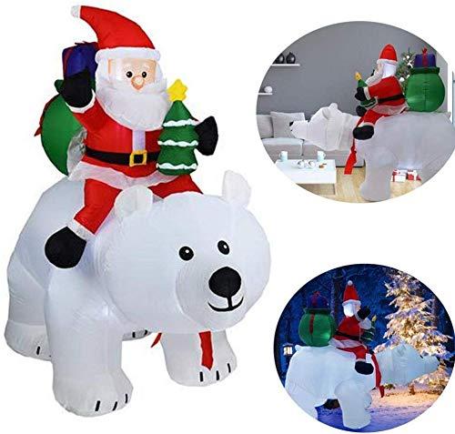 ZYEZI Modello Gonfiabile di Natale, Cavalcando Orso Polare Babbo Natale per La Decorazione del Giardino di Cortile Esterno Coperto 2M