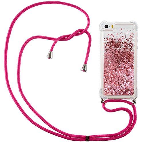 QC-EMART - Funda para iPhone SE 2016, iPhone 5, iPhone 5S, silicona con purpurina líquida y arenas movedizas reforzadas, a prueba de golpes, funda para iPhone 5/SE/5S, color oro rosa