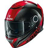 Shark - Casco de moto SPARTAN CARBON SKIN DRR, negro y rojo, talla M.