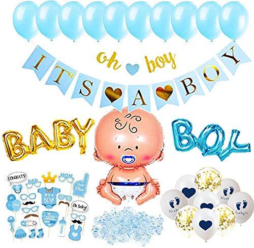 SHUIBIAN Babyparty Deko Junge Set - 51Teile - Baby Shower Deko It's A Boy Girlande - Luftballons, Girlande, Fotobox, Tischdeko, Streudeko - Blau