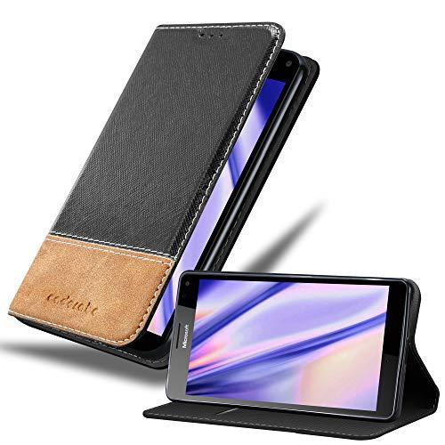Cadorabo Hülle für Nokia Lumia 950 XL - Hülle in SCHWARZ BRAUN – Handyhülle mit Standfunktion & Kartenfach aus Einer Kunstlederkombi - Case Cover Schutzhülle Etui Tasche Book
