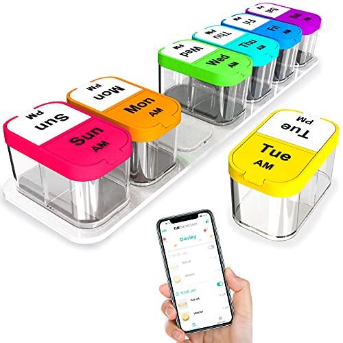 Odaro Organizador de píldoras semanal inteligente 2 veces al día, caja de píldoras extra grande 7 días Am Pm con aplicación gratuita para recordatorio de teléfono inteligente