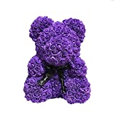 E-zoe Rose Teddy Bear,10 inch Artificial Rose Love Romantic for Christmas, Graduation, Valentine's Day, Mother's Day, Anniversary, Birthday, Wedding Gift (Purple)
