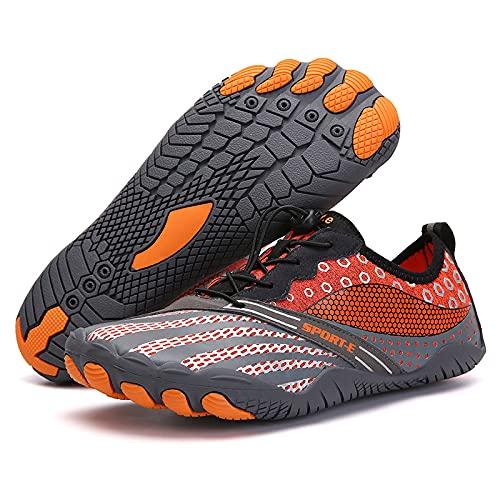 KUXUAN Zapatos de ciclismo-2021 nuevos zapatos de red de cinco dedos al aire libre senderismo versión deportiva zapatos de senderismo zapatos de escalada en roca de campo traviesa, naranja-36
