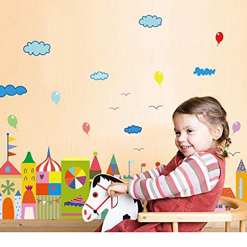 Top gebouw wolken ballon muur Stickers voor kinderen kamers babykamer keuken behang huisdecoratie muurstickers poster