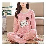 LSBXWL Pijamas for Woman, Las Mujeres Pijamas Set Fina Pijamas Set for la niña Suave Ropa de Noche de Manga Larga con Lindo patrón de Otoño Pijamas (Color : Pink, Size : M)