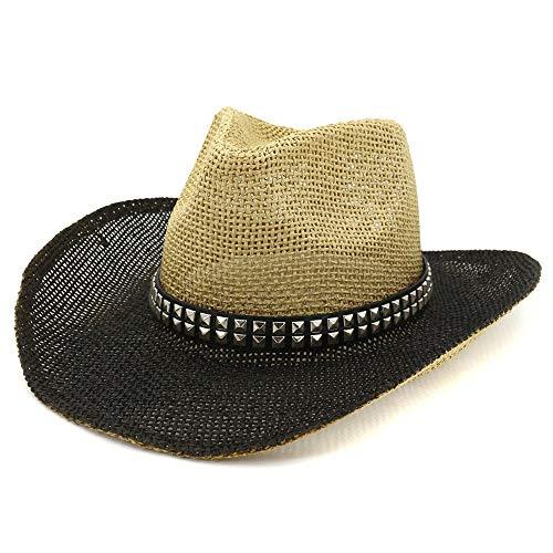 Jiangqiong, – Cappello da Cowboy da Donna con Vernice Spray, Cappello da Spiaggia, Cappello da Spiaggia, Visiera Parasole Quadrata, Rivetto Decorativo, Cannuccia, 2, 56-58 cm