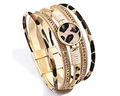 Fesciory Leopard Bracelet for Women Wrap Multi-Layer Leather Bracelet Magnetic Clasp Cuff Bangle Jewelry (Khaki Leopard)
