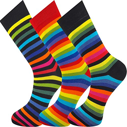 Mysocks Calcetines de rayas tobillo arco iris 3 pares