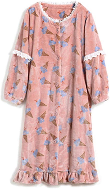 NAN Liang Winter Ladies Cotton Bathrobes, Stylish Warm Pajamas, Long Bathrobes, Thick Bathrobes Soft (Size   L)