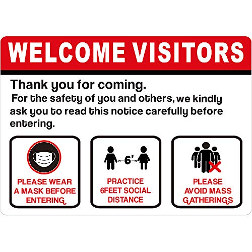 Social Distancing Window Door Sign 6 Feet Distance Decal Maintain Distance Notice Sign Security Signage Removable Vinyl Sticker Cling for Mall Bank Store and Office (6)