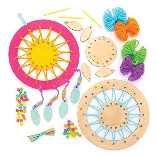Baker Ross Kit de Atrapasueños de Madera (paquete de 4) para que los niños hagan, personalicen y exhiban para actividades de manualidades