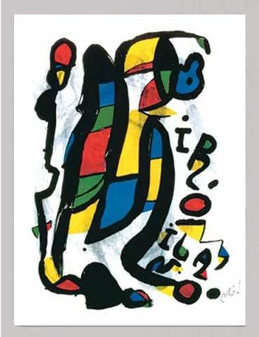 Miró, Joan Miro Milano Impression d'art Taille 60 x 80 cm + accessoires Cadre en MDF argenté