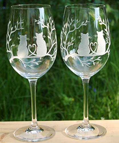 2 Weingläser Rotweingläser mit Katze Katzenmotiv Handgeschliffen Gravur