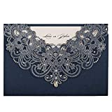WISHMADE Navy Blue Laser Cut Wedding Invitations Cards with Flora Lace Rhinestone 50X Blank for Birthday Baby Shower Engagement Wedding invites (Set of 50pcs)