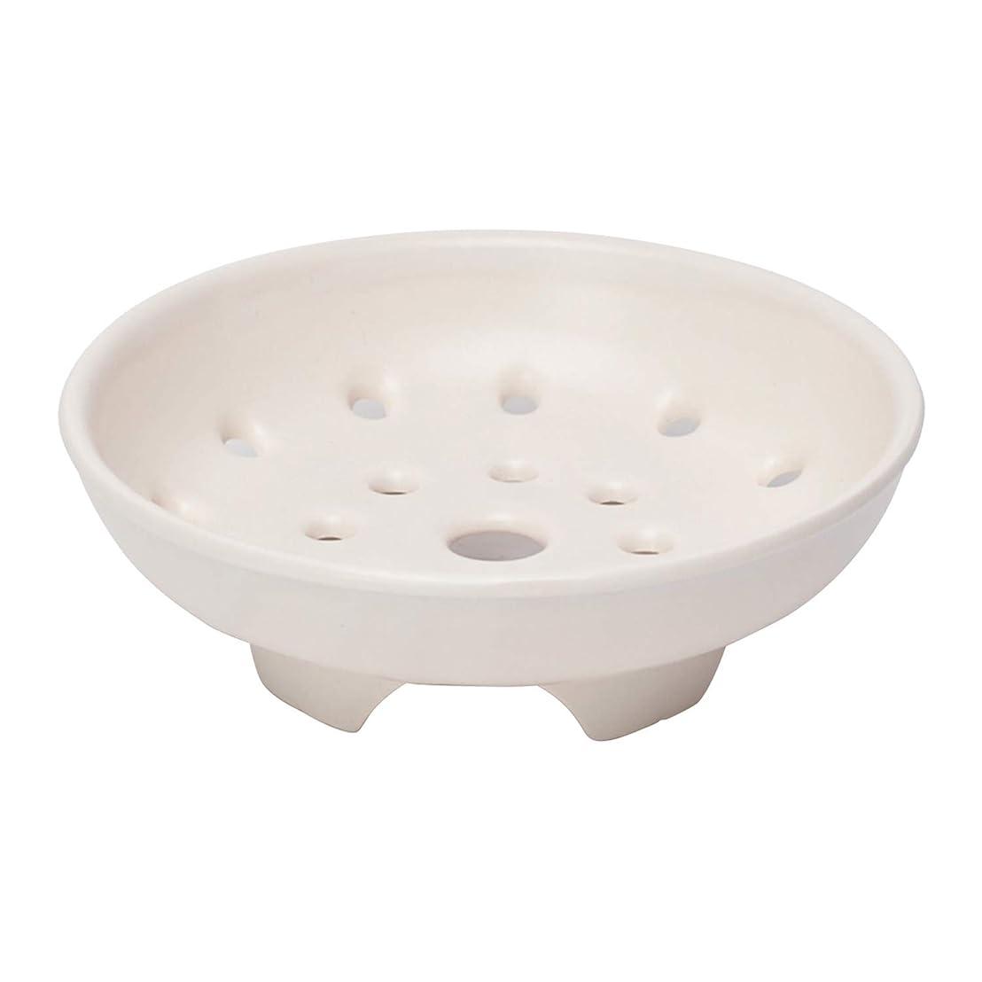 ヘビースキッパーはげ佐治陶器 蒸し器 白 15cm 萬古焼 高台蒸し スノコ 6号用 12-800