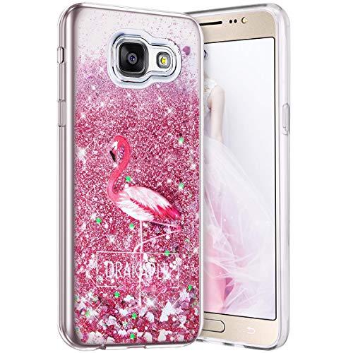 Robinsoni Funda Compatible con Samsung Galaxy A3 2016 Funda Flexible Samsung Galaxy A3 2016 Caso Silicona TPU Caja Brillo Liquida Bling Cubierta 3D Liquid Flowing Funda Espejo Funda Flamingo # 1