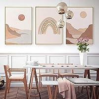 キャンバス絵画プリント自由奔放に生きるミッドセンチュリーポスター太陽レインボーマウンテン抽象的な風景壁アート写真部屋の家の装飾70x100cm3Pcsフレームレス