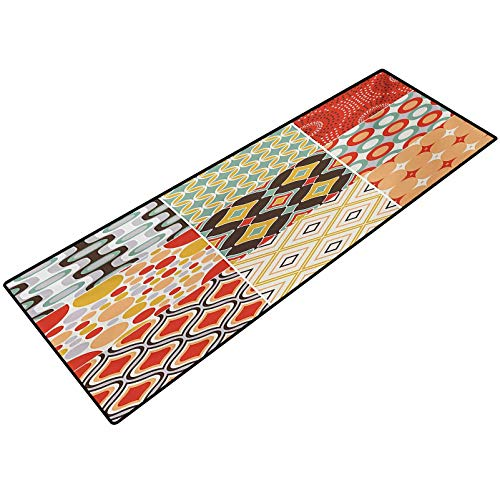 Vintage Outside Floor Rug Mosaic Vintage Patterns with Diagonal Geometrical Shapes Abstract Design Print Indoor or Outdoor Rugs for Door Mats 22x36 Inch Multicolor
