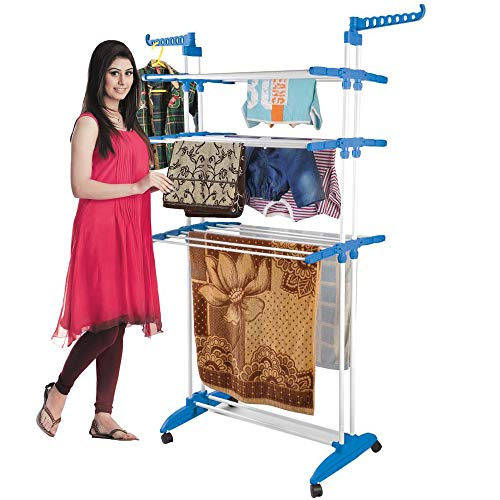 BonBon 3 Tier Clothes Drying Rack Folding Laundry Dryer Hanger Compact Storage Steel Indoor Outdoor...