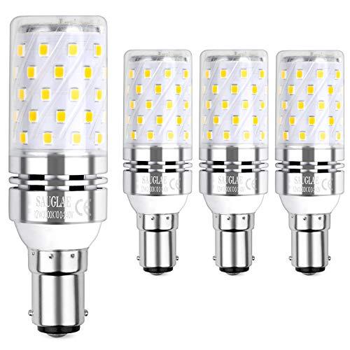 Sauglae B15 LED Mais Leuchtmittel 12W, Entspricht 100W Glühbirnen, 3000K Warmweiß, 1200Lm, Kleine Bajonett Kappe LED Birne, 4-Pack