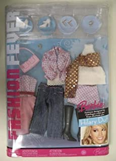 K2888 Barbie Fashion Fever Hilary Duff Closet with White Camisole & a Lavender & Light Pink Print Jacket, Blue Jeans & Other Outfits and Accessories