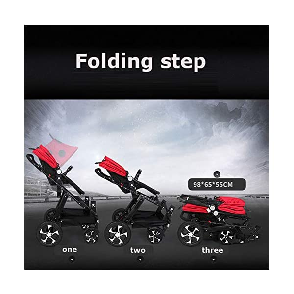 JXCC Double Strollers Baby Pram Tandem Buggy Newborn Pushchair Ultra Light Folding Child Shock Absorber Trolley Can Sit Half Lying 0-3 years old(Maximum loadable 50Kg baby) -Safe And Stylish A JXCC 1. {Four seasons can be} - The awning can be adjusted to multiple angles to easily cope with the sun, keep the baby warm in winter, and keep the windproof feet 2. {Multi-angle adjustable seat}: The seat can be adjusted between 0 and 175 degrees. The baby can sit and play, can lie flat, can lie down and drink milk, suitable for all occasions. Meet the needs of 0-3 year old baby. 3. {Multiple shock absorption design} - Rear wheel, two-wheel brake, wheel spring shockproof, baby is very safe 6