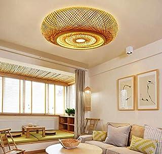 Plafonnier vintage japonais bambou rotin lanterne plafonnier créatif autour de la chambre, salon, bureau, lustre en bambou...