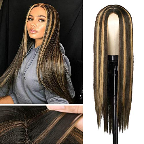 AISI HAIR Brown Mixed Blonde Long Straight Natural Wig Middle Part Straight Wig with Highlights for Women Synthetic Straight Hair Wig No Bangs (R6-6A-27S#)