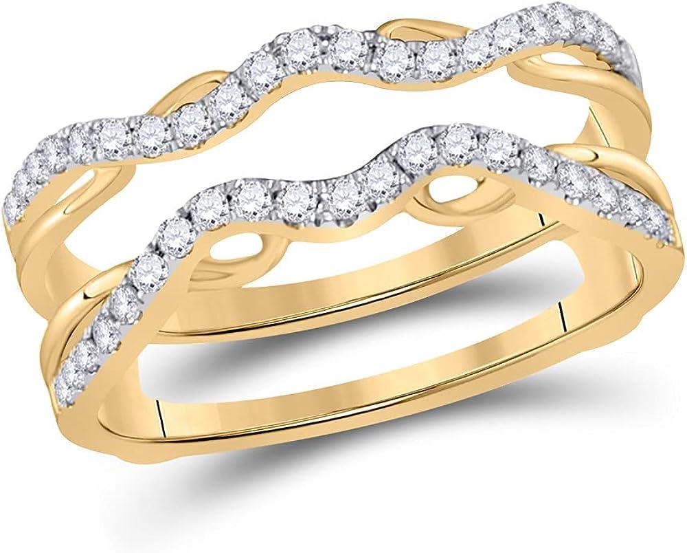 14kt Yellow Gold Womens Round Diamond Wrap Ring Guard Enhancer 1/3 Cttw