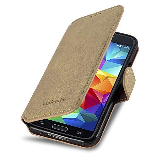 Cadorabo Funda para Samsung Galaxy S5 / S5 Neo Funda de Cuero Sintético Retro en MARRÓN Apagado – Cubierta Protectora Estilo Libro Tarjetero y Función de Suporte – Etui Case Cover