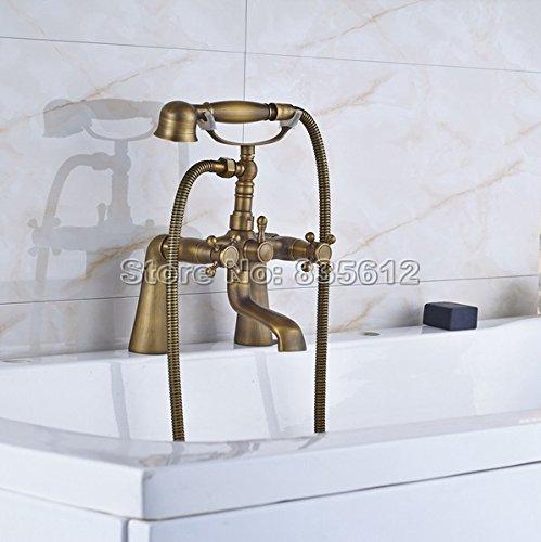 Luxurious shower Baño bañera con patas de garras grifo acabado de latón antiguo conjunto de ducha con agua fría y caliente ducha grifos grifo mezclador j061,Antique
