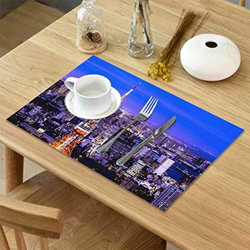 Sets de Table pour Table à Manger Lot de 4 Tapis de Table en Lin de scène de Nuit de Tokyo City Résistant à la Chaleur pour Tapis de Table de Cuisine Isolation antidérapante Set de Table rés 45*30cm