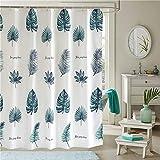 DECMAY Duschvorhang aus Polyester 180x180 cm, Wasserdichter antibakterieller Duschvorhang für das Badezimmer, mit 12 Duschvorhangringen, beschwerter Saum, Dschungel Blätter Muster
