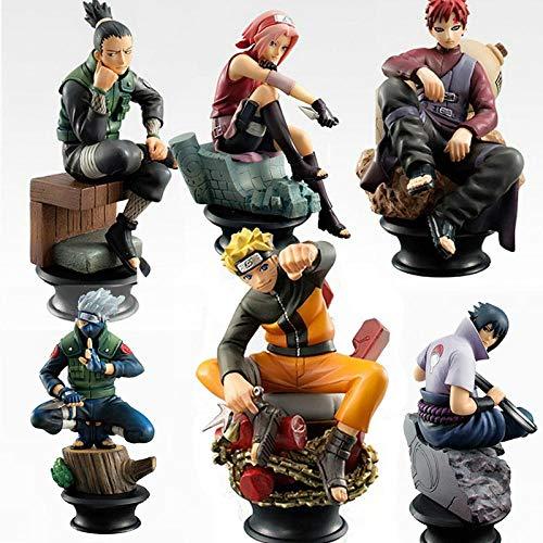 cheaaff 6 Stück/Set Naruto Actionfiguren PVC Modell Spielzeug Anime Naruto Figur Sasuke Gaara Actionfiguren Für Dekoration Sammlung Geschenkspielzeug