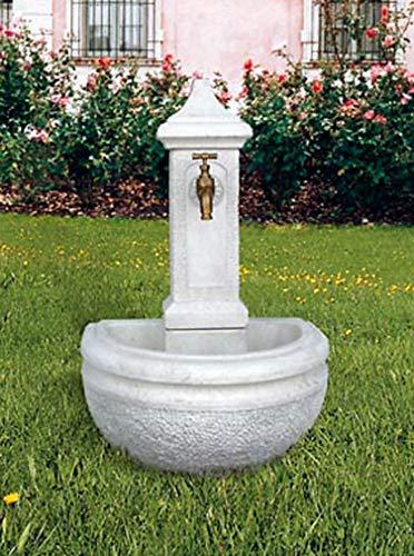 pompidu-living Standbrunnen Amelia - Brunnen aus Marmor in echter Handarbeit - Der ideale Gartenbrunnen in Terracotta, 90 x 40 x 60 cm