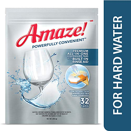 Amaze! Premium All-in-One Dishwasher Tablets - Powerful Hard Water Performance (32 Count Pack)