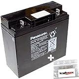 1x Panasonic 12V / 17Ah AGM Blei-Akku - LC-XD1217PG [ M5 - Bolzen inkl. Schraube und Mutter ] VdS geprüft - inkl. 2x Original Kraftmax Anschluß-Adapter