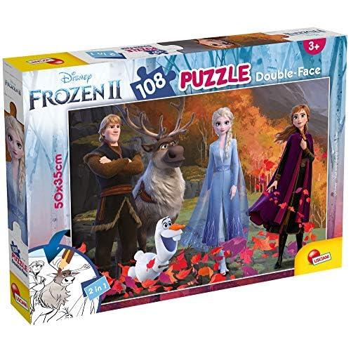 Lisciani Giochi- Disney-DF Plus Frozen 2 Puzzle Doppia Faccia, Multicolore, 108 Pezzi, 81301