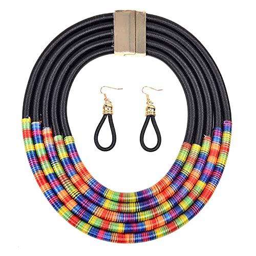 HMANE Conjunto de Collar Botón de magnetismo de Viento de múltiples Capas Brazalete de Moda Collar de Pulsera Joyería de Fiesta 45 cm