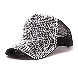 Silver Rhinestone Mesh Breathable Adjustable Sun Hat
