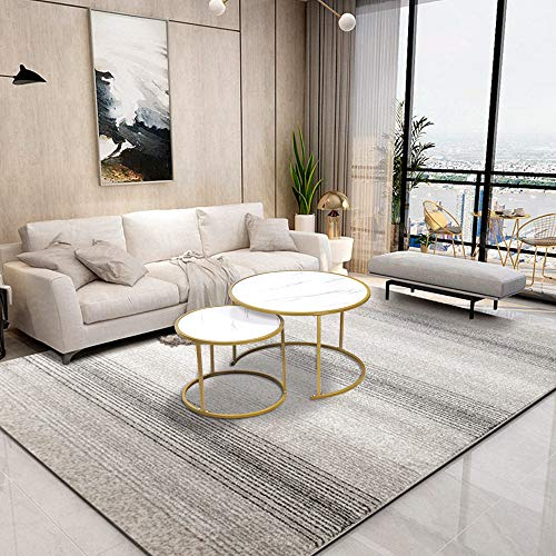 Living Room Round Coffee Nested Table Set of 2, Accent Nesting End Table Sofa Side Table White Marble-like Wooden Tabletop with Golden Metal Stacking Tea Table Large Little for Home Office