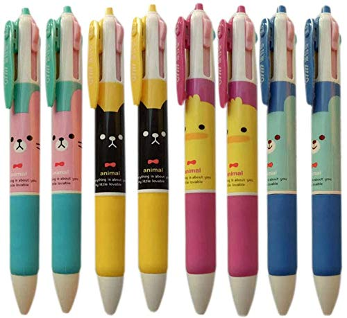 WEIMAY 8 Pack Multicolor Pens 4 Color Ink Cute Ballpoint Pen Rubber Grip Nurse Pen Cute Pen For Kids 0.5 mm Tip For Smooth Writing