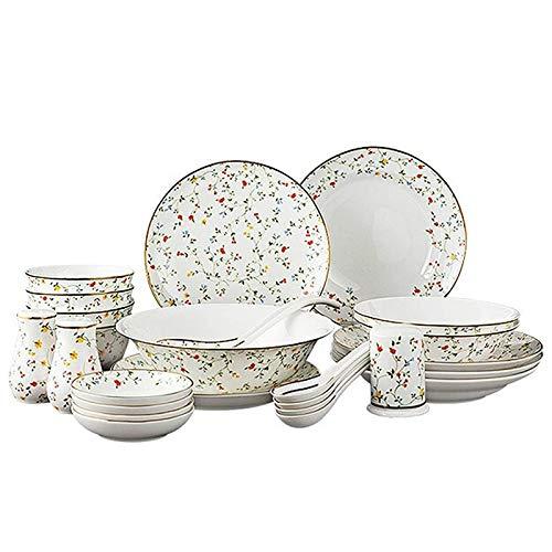 DGYAXIN Juego de vajilla de cerámica de 25 Piezas, Juegos de vajilla de Porcelana China, Platos de Porcelana para Sopa y tazones de Cereales, para Regalos de Boda, Familia, Restaurante,A