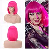 Akkya Hot Pink Bob Wigs with Bangs for Women Short Colored Straight Synthetic Hair Neon Pink Wig for Party Halloween Costume Cosplay (12inch,Hot Pink)